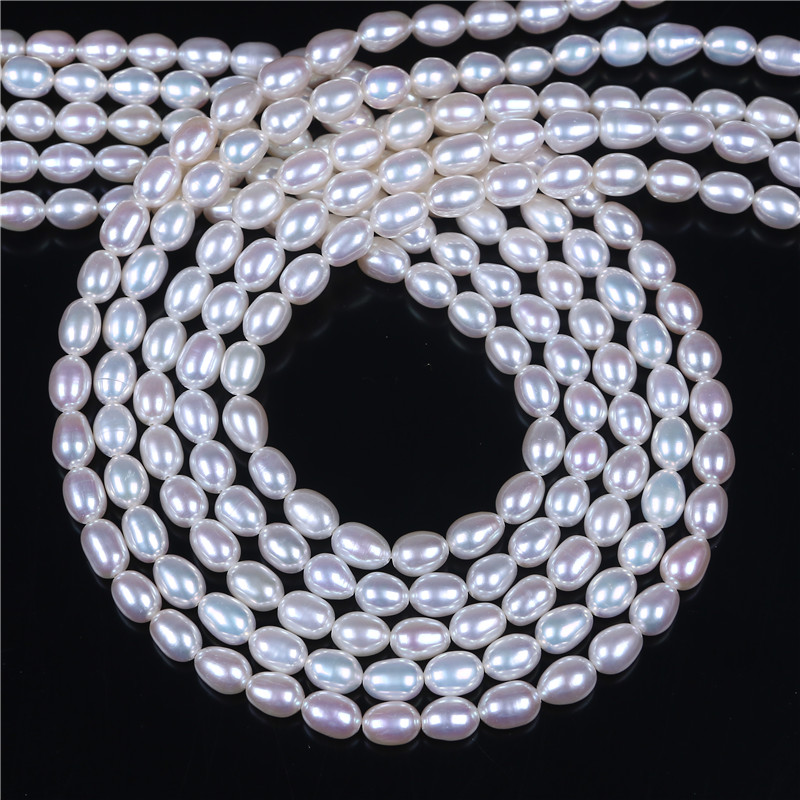 AAA Grade 5 6mm Rice freshwater Pearl DIY Necklace Bracelat Jewelry Making Rice Shape Natural White