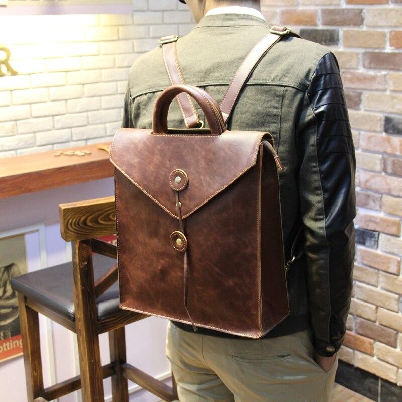 Hot Sales England Style Crazy Horse PU Leather Backpack New Vintage Fashion School Knapsack Students Laptop