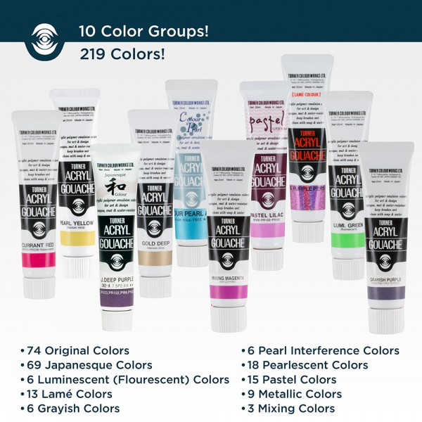 Japan Turner Acrylic Paint Water Powder Pigment 20ml Clay  Fabric  Cup WaterColor Acryl Gouache