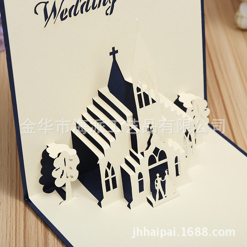 buy manufacturers selling wedding chapel 3d stereo creative wedding cards. Black Bedroom Furniture Sets. Home Design Ideas