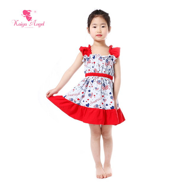 c45aacaec14b Kaiya Angel Girls Dress Patriotic Toddler Girls 4th Of July Dresses Royal  Blue Heart Ruffles Kids Children Girls Clothes Dresses