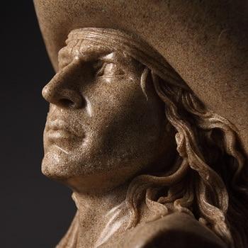 Abstract Cowboy Bust Handmade Sandstone Hunter Sculpture Portrait 5