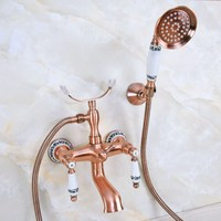 Antique Red Copper Brass Double Ceramic Handles Wall Mounted Bathroom Clawfoot Bathtub Tub Faucet Mixer Tap w/Hand Shower ana379