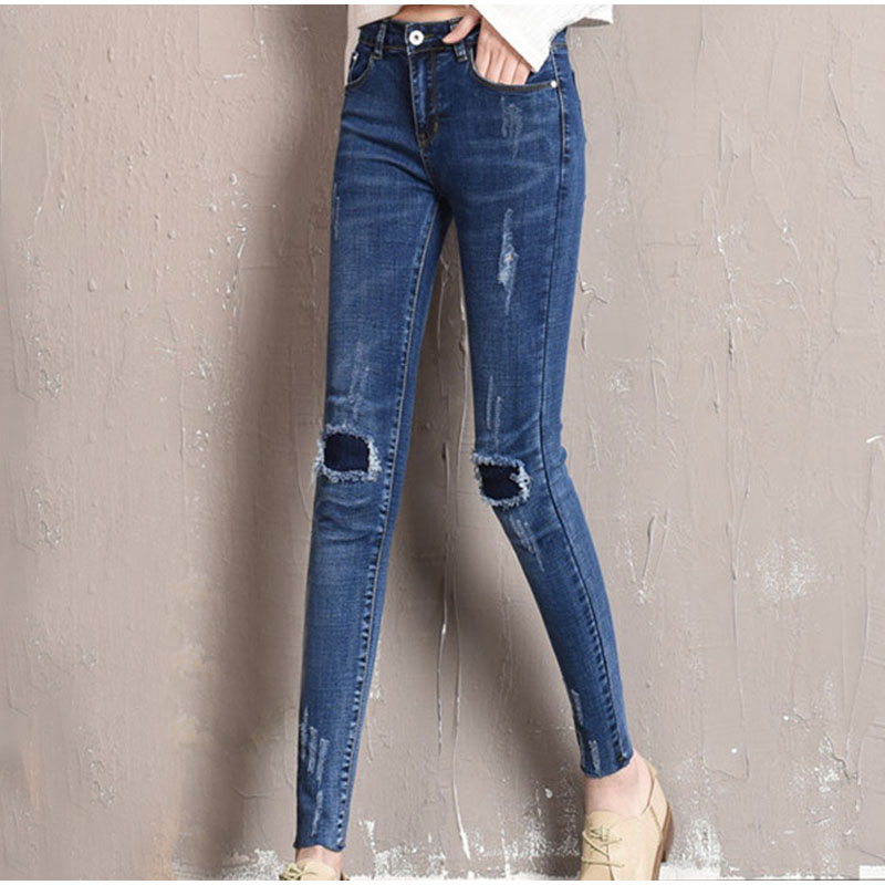 440986da6ca Plus Size Torn Stretch Skinny Ankle Length Jeans 4XL 5XL Women Ripped Knee  Hemming Capris Denim Trousers Nine Point Pencil Pants-in Jeans from Women s  ...