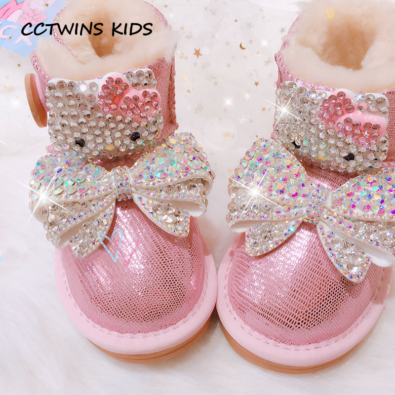 CCTWINS KIDS 2018 Winter Girl Fashion Pearl Shoe Children Genuine Leather  Rhinestone Snow Boot Baby Butterfly d5d876b7c66d