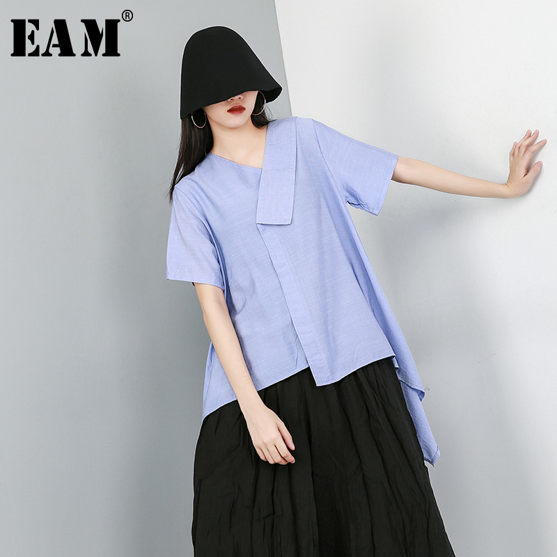 [EAM] 2020 New Spring Summer V-Neck Short Sleeve Black Loose Irregular Hem Loose Temperament T-shirt Women Fashion Tide JW914