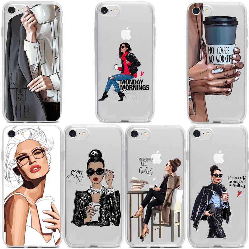 Goddess VOGUE Art Princess For Girls Female boss coffee Soft Silicone TPU phone accessories Case For iPhone11 8 7 6 Plus X MAX 5