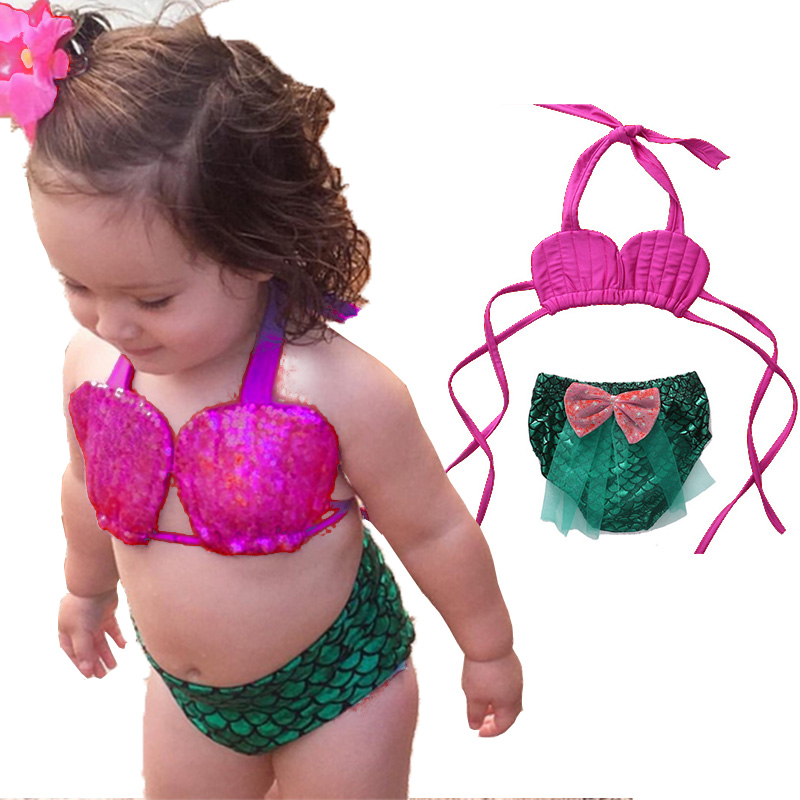 02398443 2017 Two Piece Little Girl Mermaid Halter Mermaid Swimsuits Baby Girls  Bikini Suit Swimwear Bathing Swimming Costume Clothes -in Children's  Two-Piece Suits ...