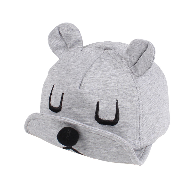 b8536d20a44 Soft Baby Baseball Cap Bear Ears Baby Hat Cotton Autumn Infant Cap For Boys  Girl Solid ...