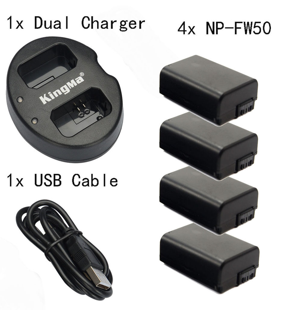 4pcs NP-FW50 Battery for Sony NEX-3C NEX-5 NEX-7 A7 II A7R A7S A5100 + Dual charger
