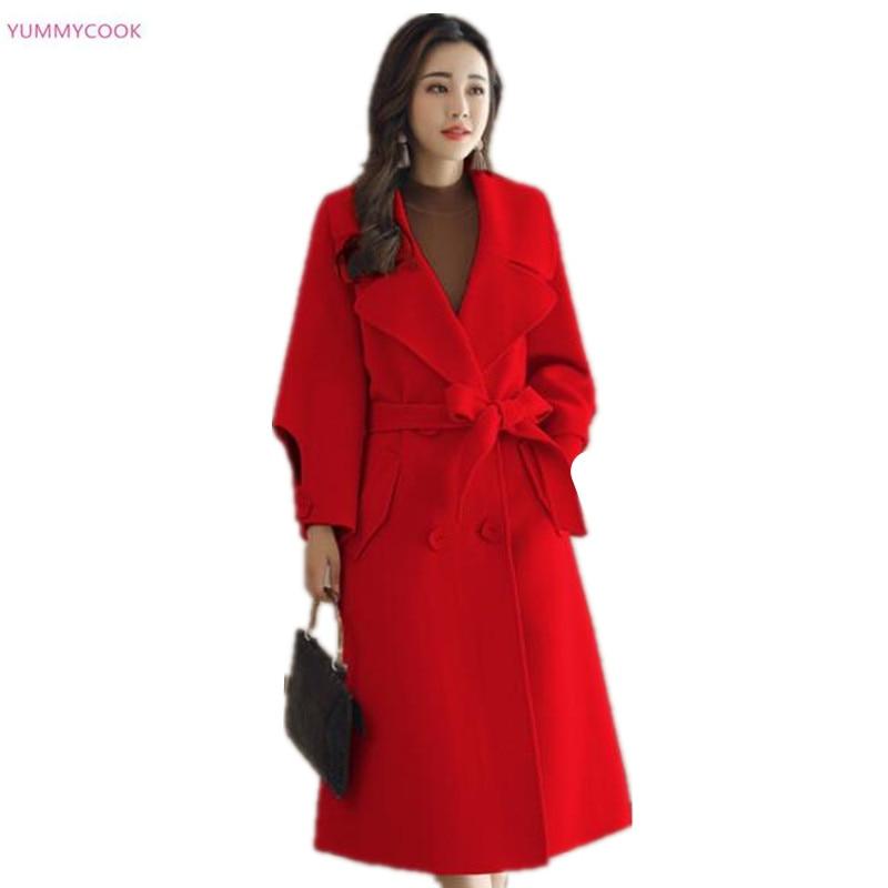 Tops Lâche Green Solide Femmes Pardessus Coréenne Hiver De 232 Section army red caramel 2018 Laine Nouvelles Mixte Couleur Laçage Colour Longue Manteau Femelle D'hiver Off white Ta0qB8w