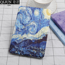 QIJUN tablet flip case for Samsung Galaxy Tab A 10.1 painting Smart wake UP Sleep fundas fold Stand cover capa T580/T585