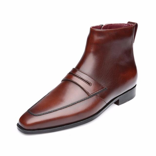 TERSE_2016 Nueva llegada de los hombres botas de invierno en el café/borgoña cuero genuino zapatos de cuero hechos a mano moda cremallera envío de la gota
