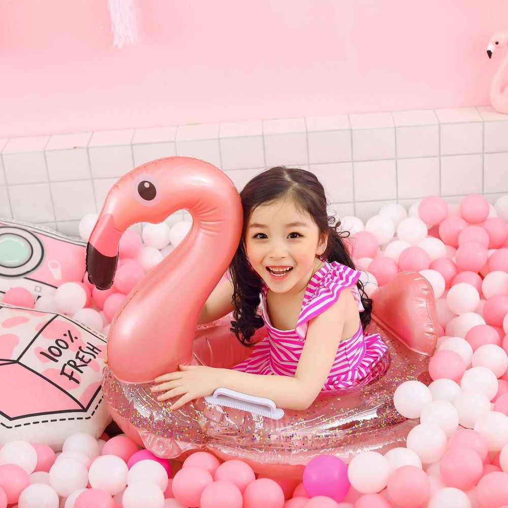 Glitter Heart Pool Float Inflatable Swimming Ring Girls Beach Photo Props Supply
