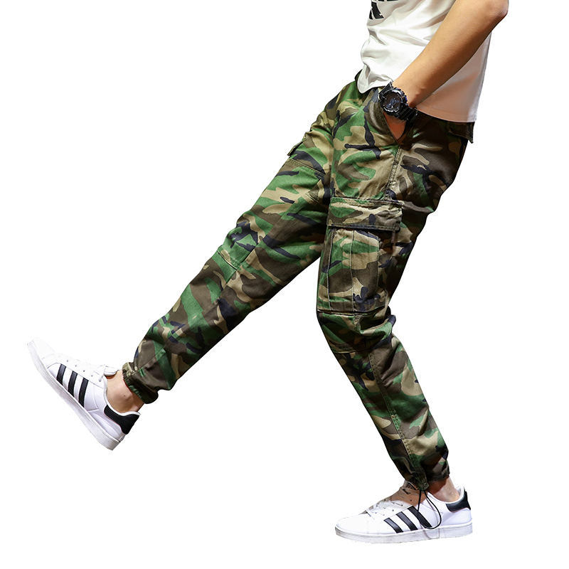 2018 Newly Fashion Men's Jeans Top Quality Camouflage Army Pants Green Color Streetwear Jogger Pants Brand Classical Cargo Pants