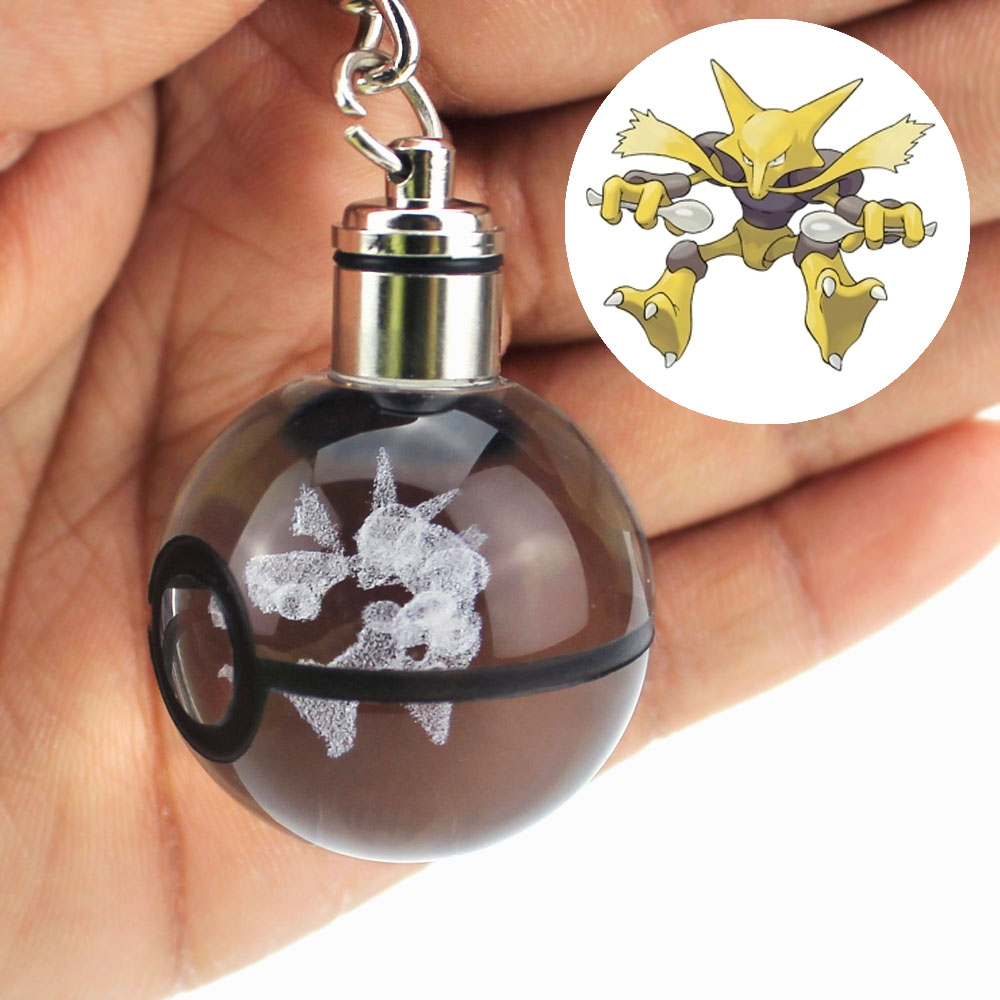 Fashion Bulbasaur Dragonite 3D Engraving Glass Ball Lamp Pokemon Go Novelty Light LED Keychain Colorful Pendant Child's Gift