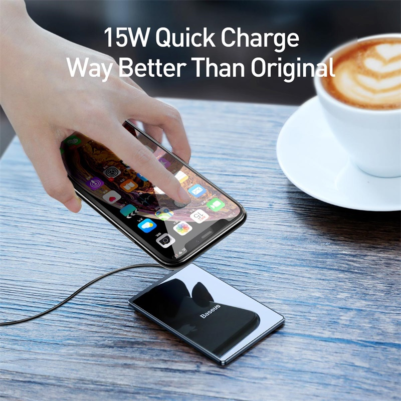 Image 2 - Baseus 15W Qi Wireless Charger For iPhone X Xs Max Ultra Slim Fast Wirless Wireless Charging Pad For Samsung S10 S9 Xiaomi Mi 9-in Wireless Chargers from Cellphones & Telecommunications
