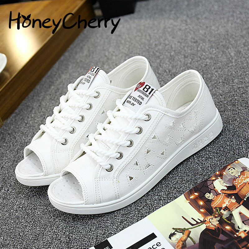 Summer 2018 new woman canvas sandals hollow fish head wild casual Korean flat shoes breathable shoes student, Women Shoes women s shoes 2017 summer new fashion footwear women s air network flat shoes breathable comfortable casual shoes jdt103