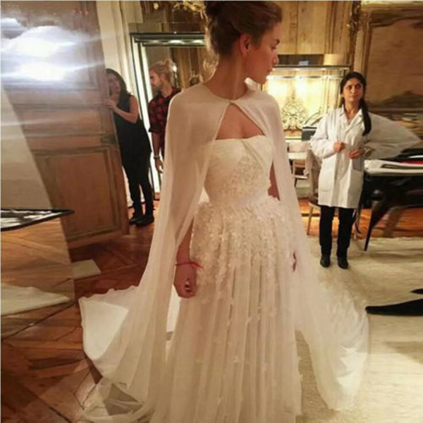 Abiti Da Cerimonia Wedding.Wedding Cloak Bolero Women Bridal Capes White Red Chiffon Long