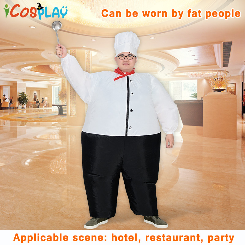 Купить с кэшбэком Chef Inflatable Costume Women Men Adults Air Blown Suits Halloween Party Carnival Cosplay Outfit Purim Cook Oktoberfest Jumpsuit