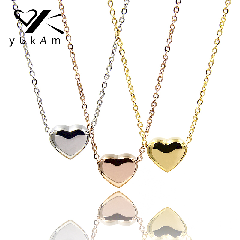YUKAM Delicate Stainless Steel Small Love Heart Pendant Necklaces Women Short Statement Necklace Silver Rose Gold Female Jewelry