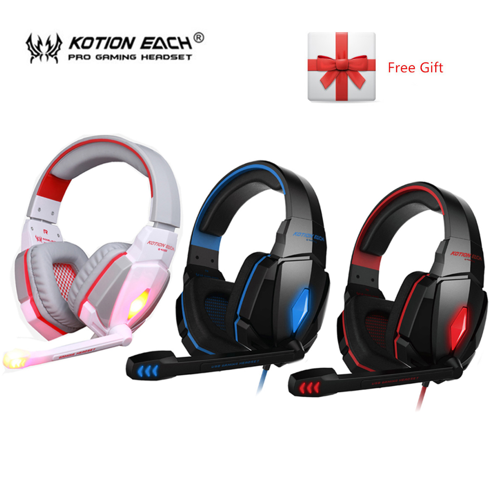 KOTION EACH G4000 Stereo Gaming Headphone Headset Headband with Volume Control for PC Game with Mic Led Noise Canceling spin master игра домино disney тачки 3