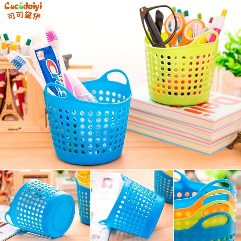 Plastic Office Desktop Storage Baskets Makeup Organizer Storage Box 10.5*8.5*8cm Green Blue Hot Pink Nov