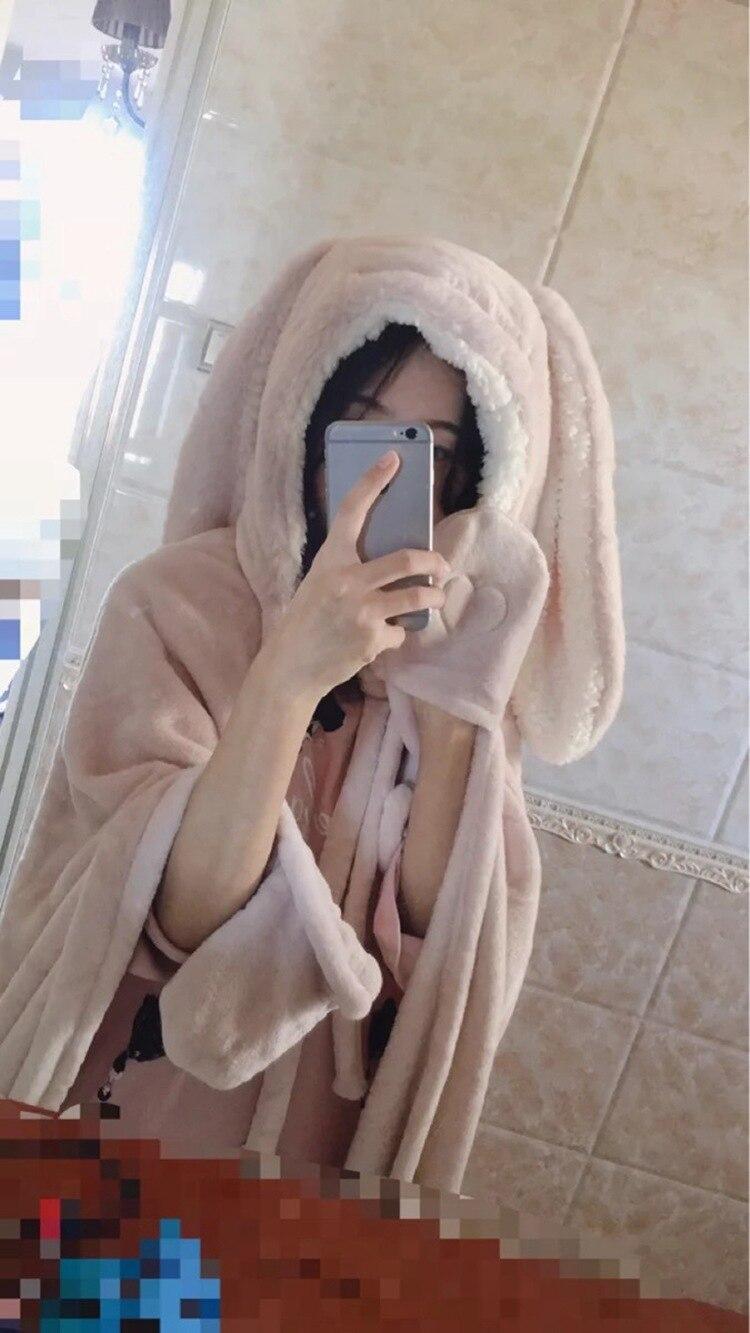 Cute Pink Comfy Blanket Sweatshirt Winter Warm Adults and Children Rabbit Ear Hooded Fleece Blanket Sleepwear Huge Bed Blankets 110