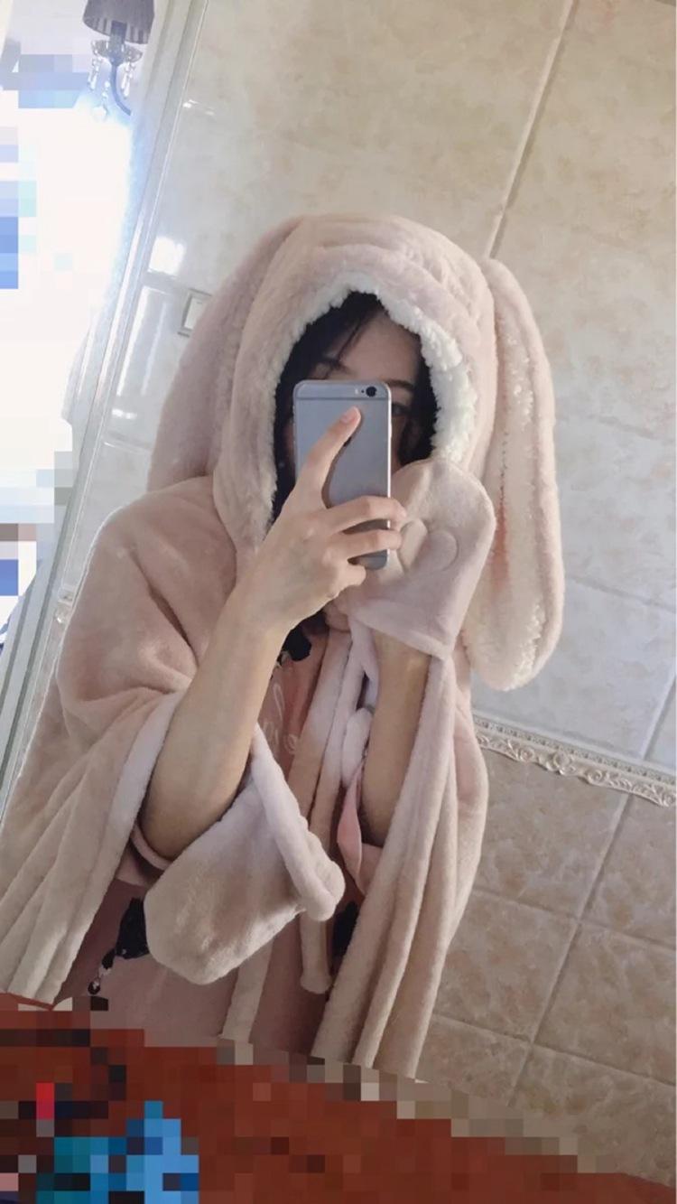 Cute Pink Comfy Blanket Sweatshirt Winter Warm Adults and Children Rabbit Ear Hooded Fleece Blanket Sleepwear Huge Bed Blankets 111