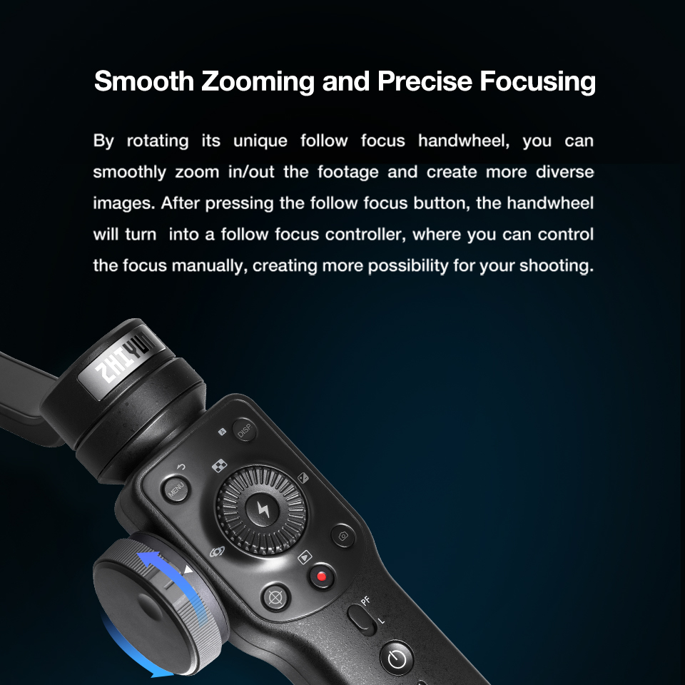 Zhiyun Smooth 4 3-Axis Handheld Smartphone Gimbal Stabilizer for iPhone XS Max XR X 8Plus 8 7P7 Samsung S9 S8 S7 & Action Camera 10