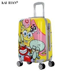 حقيبة سفر 20 24 بوصة من سبونجبوب كارتونية على عجلات حقيبة أمتعة على شكل عربة للنساء حقيبة جميلة على الطريق
