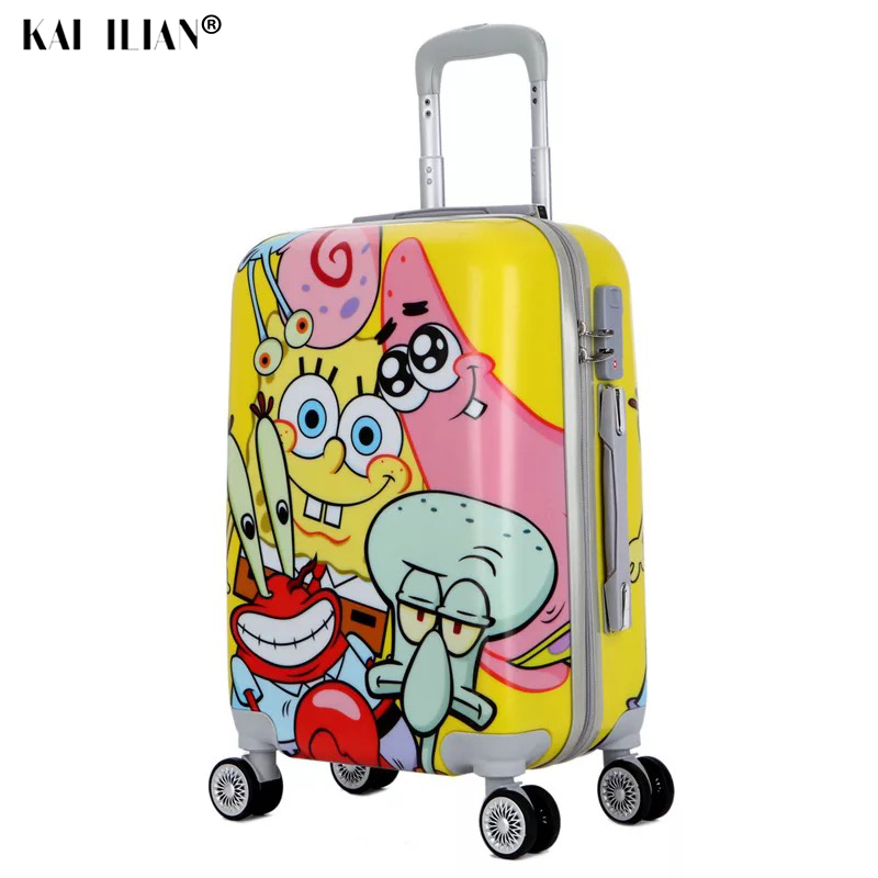 """20""""24 Inch PC Cartoon Spongebob Travel Suitcase On Wheels Cabin Trolley Luggage Bag Women Rolling Luggage Lovely Road Suitcase"""