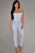 Women Fashion Denim Jeans ladies bodycon high waist skinny Overalls Straps Rompers Trousers
