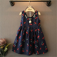 Age 2-11 Kids Summer 2016 Formal Vintage Children Clothes Cute Printing Birthday Party Tutu Princess Dresses For Girl