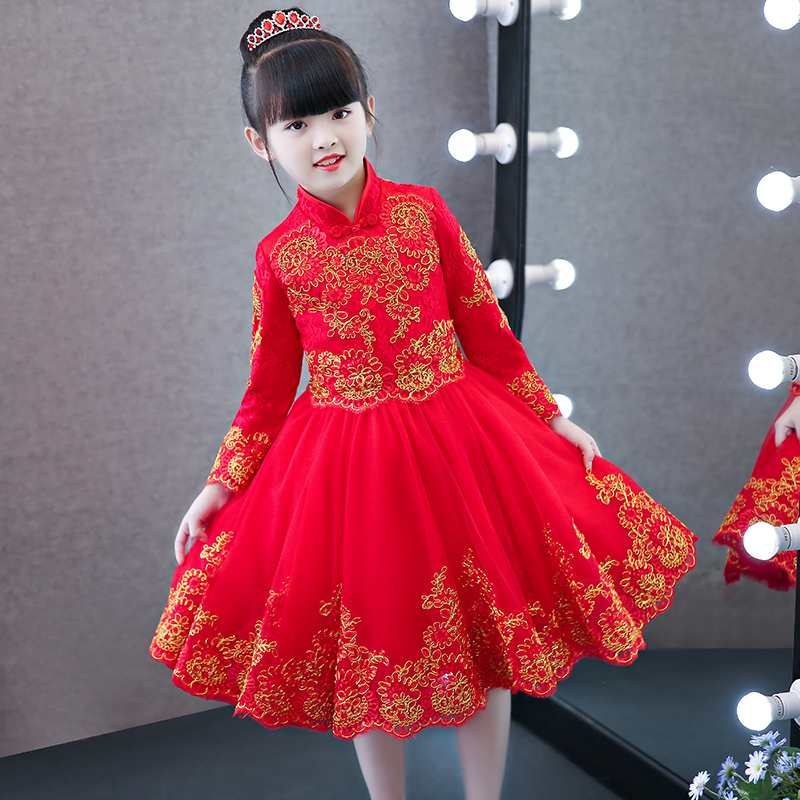 Girls Children New Elegant Chinese Style Red Qipao Cheongsam Embroidery Flowers Lace Dress Kids Birthday Wedding Party Dress red full length wedding dress elegant evening gowns chinese women embroidery flower qipao sexy cheongsam bride toast clothing