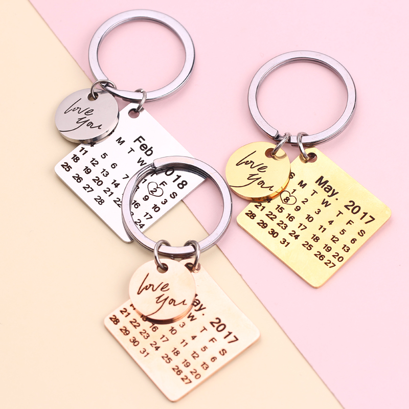 цена на Private Customize Personalized Calendar Keychain Signature Calendar Key Rings Engraved Date Name Free Shipping via Epacket