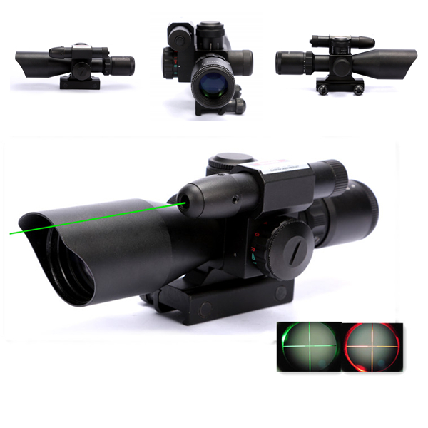 2.5-10x40 Tactical Riflescope Hunting Red & Green Dot Illuminated Mil Dot Rifle Scope with Green Laser Sight Rail Mount 2 5 10x40 hunting riflescope red green laser dual illuminated scope mil dot rail mount shockproof hunting tactical riflescope