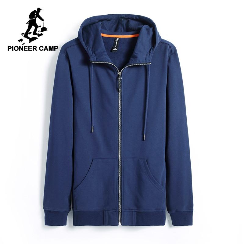 Pioneer Camp new autumn hoodies men brand-clothing casual solid hooded sweatshirt male top quality black dark blue AWY701206