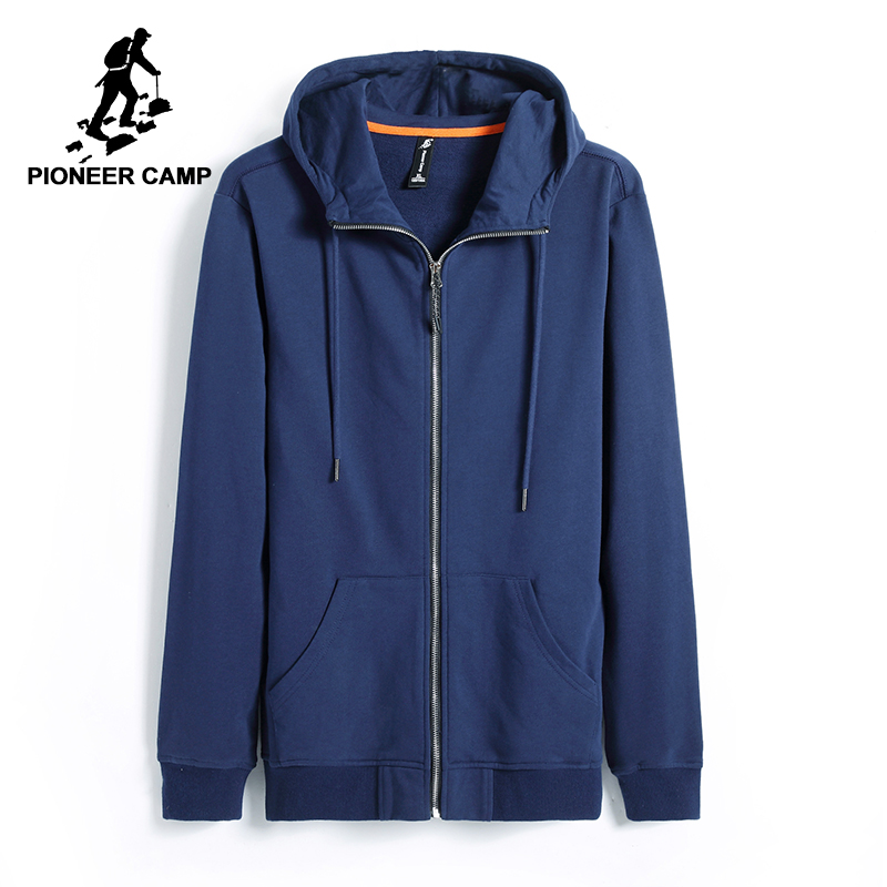 Pioneer Camp new autumn hoodies men brand-clothing casual solid hooded sweatshirt male top quality black dark blue AWY701206