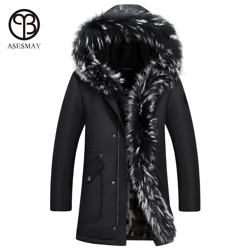 Asesmay Thick Down Jacket Winter Men Parka White Duck Down Coats High Quality With Hooded Natural Raccoon For -35 Degree Outwear