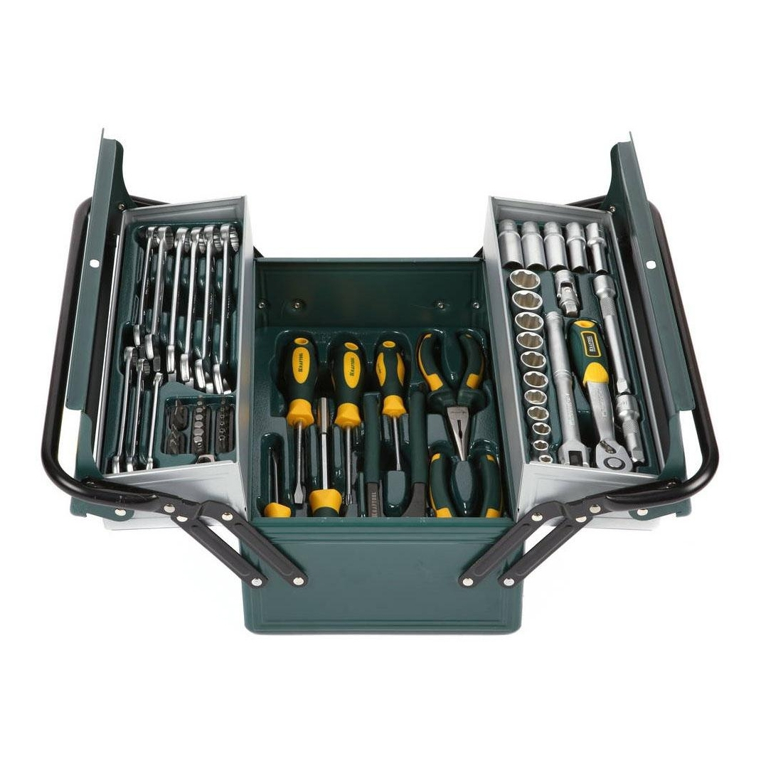 Set hand tool KRAFTOOL 27978-H59 (59 items, head end, ratchet wrench, keys, bits, screwdriver, box)