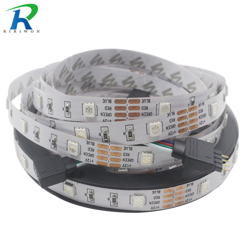 RiRi won smd RGB led strip light 5m DC 12V 5050 30leds led light led tape diode ribbon waterproof strip no power no controller 60w 3600lm 300 smd 5050 led rgb car decoration soft light strip w controller 12v 5m