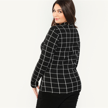 Black Stand Collar Long Sleeve Plus Size Womens Slim Fit Plaid T-Shirt