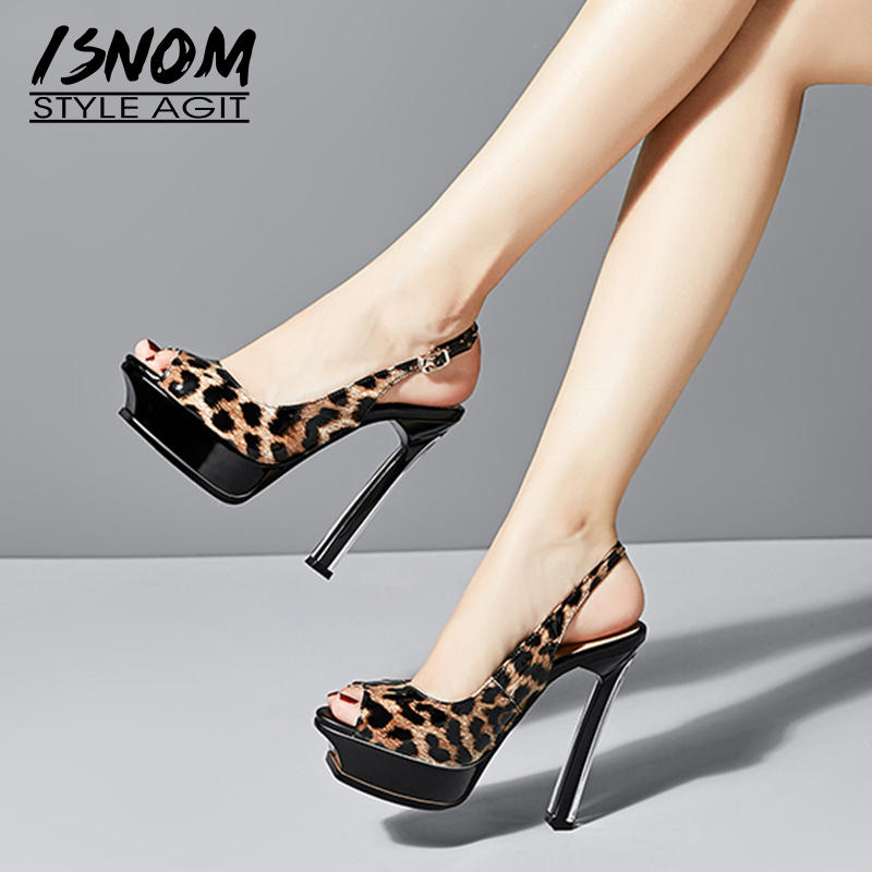 ISNOM Sexy Leopard Sandals Women Platform Sandals Cow Leather Slingback Shoes Female Summer Crystal Heels High Party Shoes LadyISNOM Sexy Leopard Sandals Women Platform Sandals Cow Leather Slingback Shoes Female Summer Crystal Heels High Party Shoes Lady