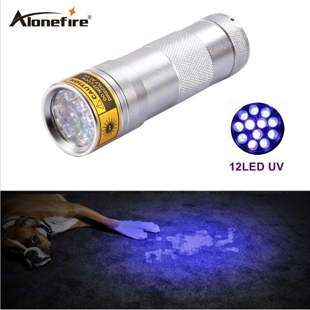 Alvafrie 12 LED UV אולטרה ויולט מנורה לפיד פנס - תאורה נייד