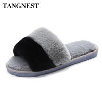 Tangnest NEW Fur Indoor Slippers For Women 2017 Winter Soft Plush Floor Slippers Comfortable Mixed Color