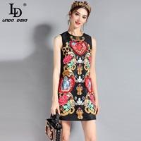 LD LINDA DELLA 2018 Fashion Runway Dress Women S Sleeveless Luxury Crystal Beading Vintage Summer Dress