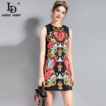 LD LINDA DELLA Fashion Runway Dress Womens Sleeveless Luxury Crystal Beading Vintage Summer High Quality