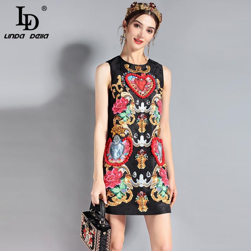 50702aa300b LD Linda della Мода Взлетно посадочной полосы платье женская без рукавов  доска с возможностью вытирания насухо