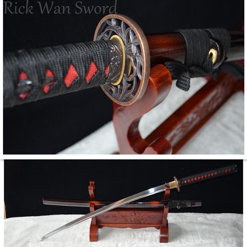 Japanese Samurai Sword KATANA 1060 High Carbon Steel Full Tang Blade Cut Bamboo Crane TsubaJapanese Samurai Sword KATANA 1060 High Carbon Steel Full Tang Blade Cut Bamboo Crane Tsuba